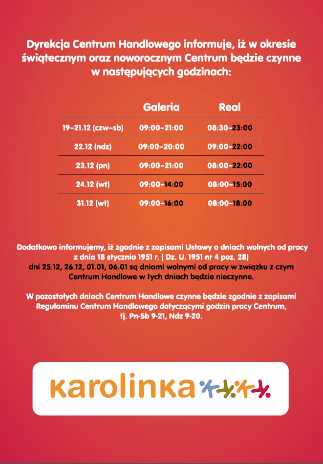 karolinka-opole-godziny-otwarcia-okres-swieta-2013